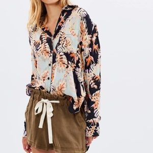 Free People Black Under Palms Button Down Blouse